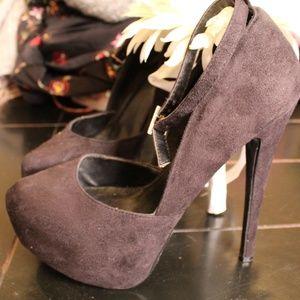 Paprika Black Suede Stiletto 6 Inch Heels